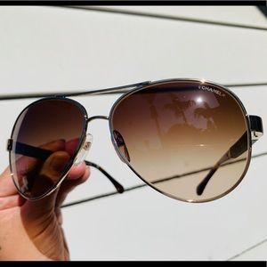 Chanel Lambskin Pilot Aviator Sunglasses